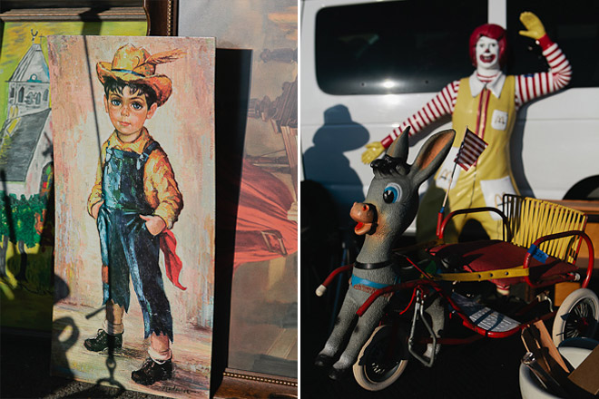 Keane-inspired painting / little donkey cart and Ronald McDonald statue